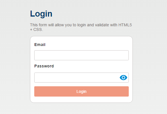 Login Form CSS only validation
