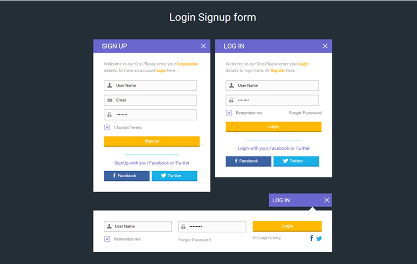 Login Signup form Widget Flat Responsive Widget Template