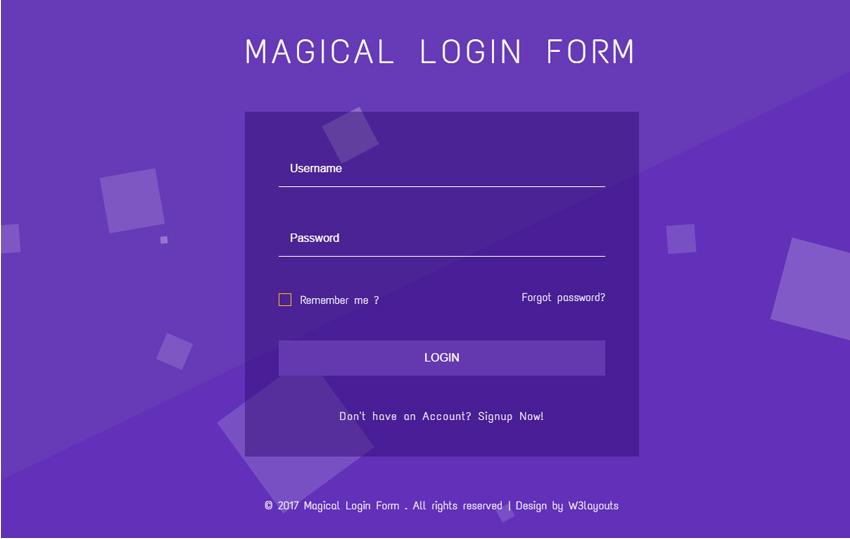 Magical Login Form Flat Responsive Widget Template