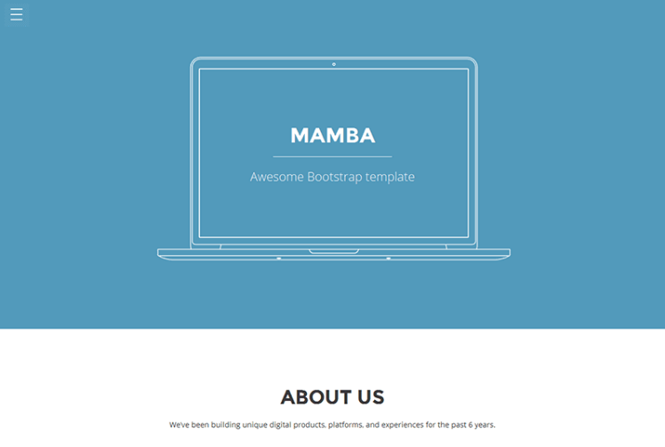 Mamba – One page Bootstrap template for free