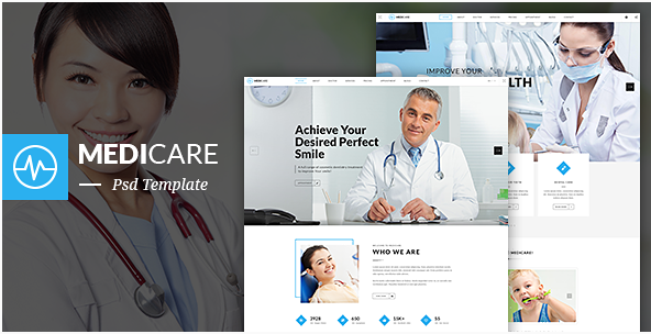 MediCare - Dentist, Medical One Page PSD Template
