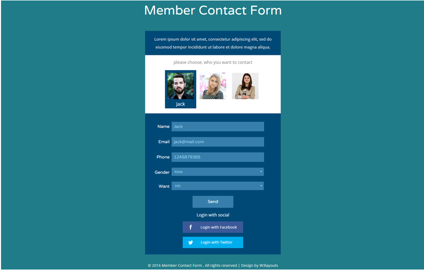 Member Contact Form Flat Responsive Widget Template