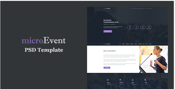 MicroEvent - Event Management & Conference Landing Page PSD Template
