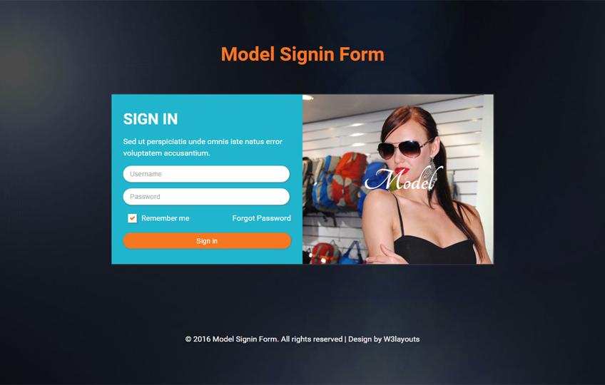 Model Signin Form Responsive Widget Template