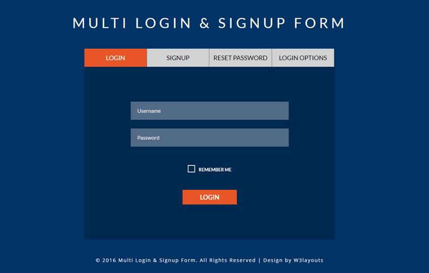 Multi Login & Signup Form A Flat Responsive Widget Template