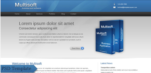 Multisoft - Bussiness and Software Company PSD Design Templates