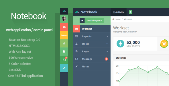 Notebook - Web App and Admin Template
