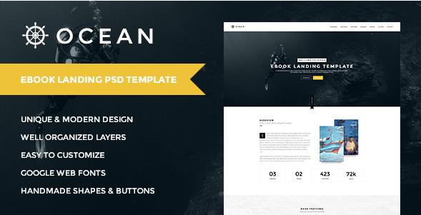 OCEAN | Creative Onepage eBook Landing PSD Templat
