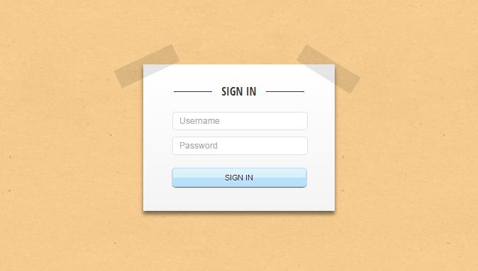 Paper login form
