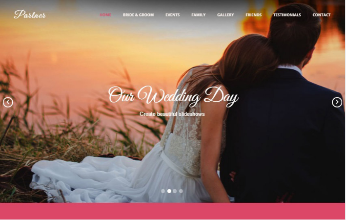 Partner Wedding HTML Bootstrap Web Template