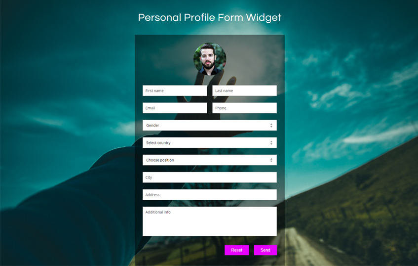 Personal Profile Form Widget Flat Responsive Widget Template
