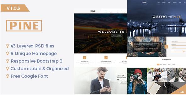 Pine - Creative Onepage PSD Template