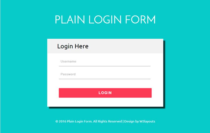Plain Login Form a Flat Responsive Widget Template