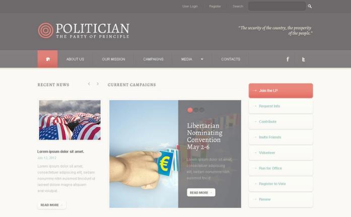 Best Political PSD Design Templates