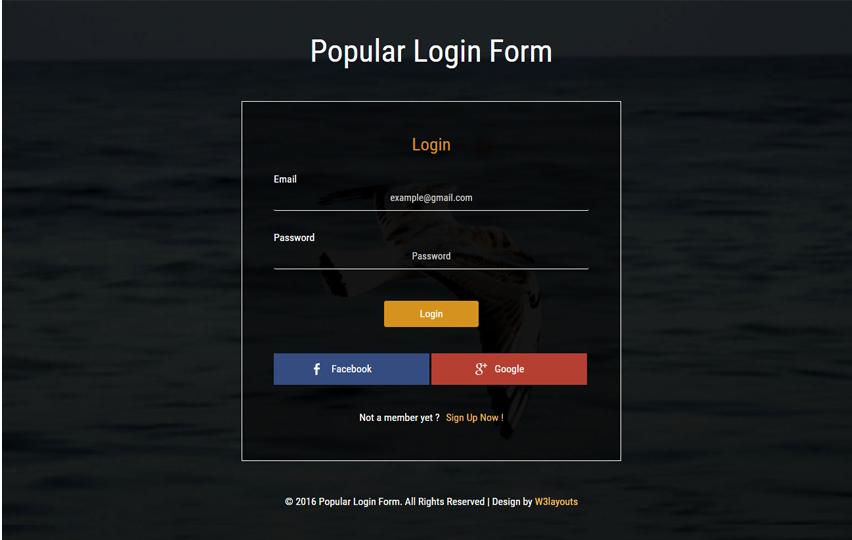 Popular Login Form Widget Flat Responsive Widget Template