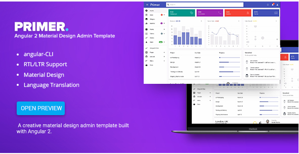 Primer - Angular 2 Material Design Admin Template