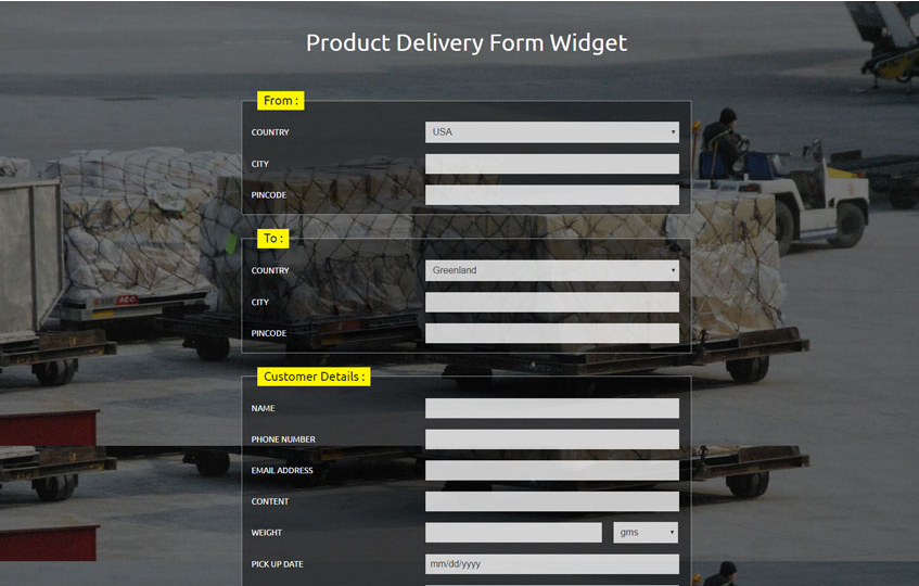 Product Delivery Form Widget Responsive Widget Template