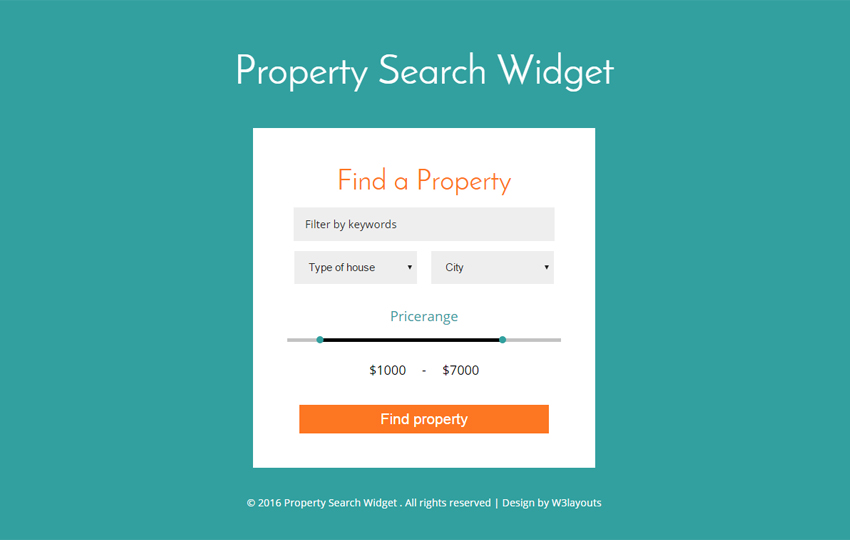 Property Search Widget Form Responsive Widget Template