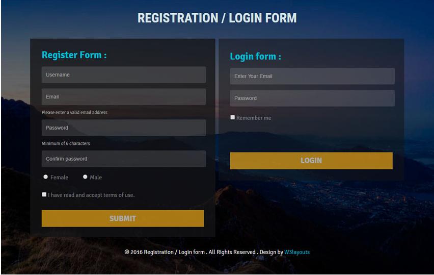 Registration or Login form Flat Responsive Widget Template