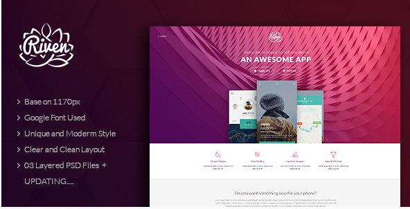 Riven - One Page App Landing PSD Template