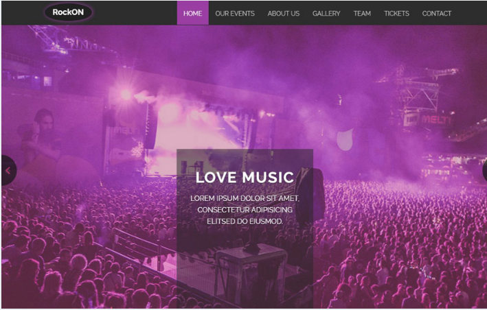 Rockon Free Music Bootstrap Web Template