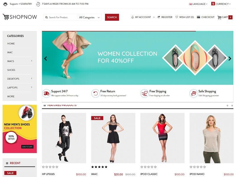 shopnow Free OpenCart Themes