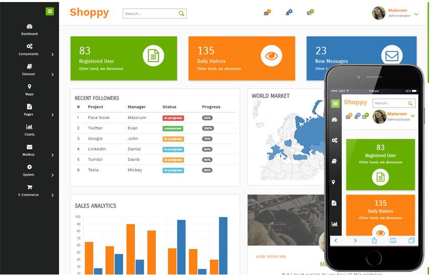 Shoppy E commerce Admin Panel Responsive Web Template