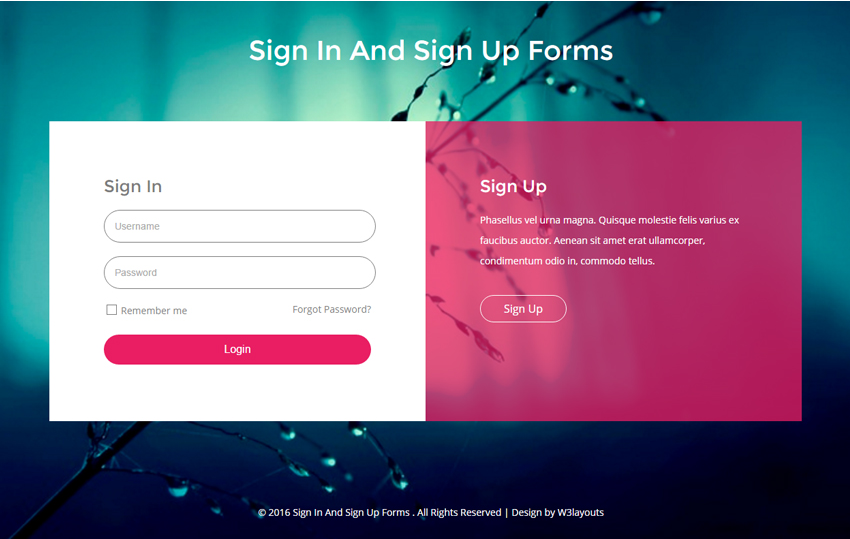 Sign In And Sign Up Forms Flat Responsive Widget Template