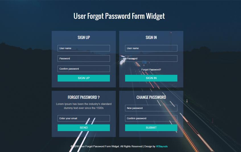 Sign Up Password Form Widget Responsive Widget Template