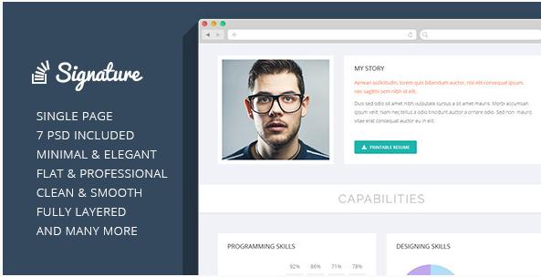 Signature - OnePage Personal Resume PSD Theme