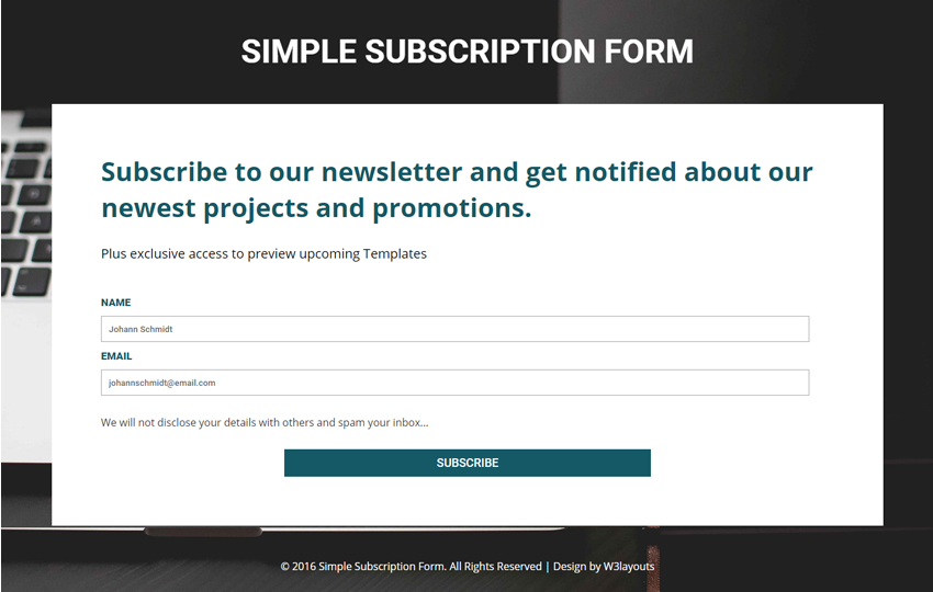 Simple Subscription Form A Flat Responsive Widget Template