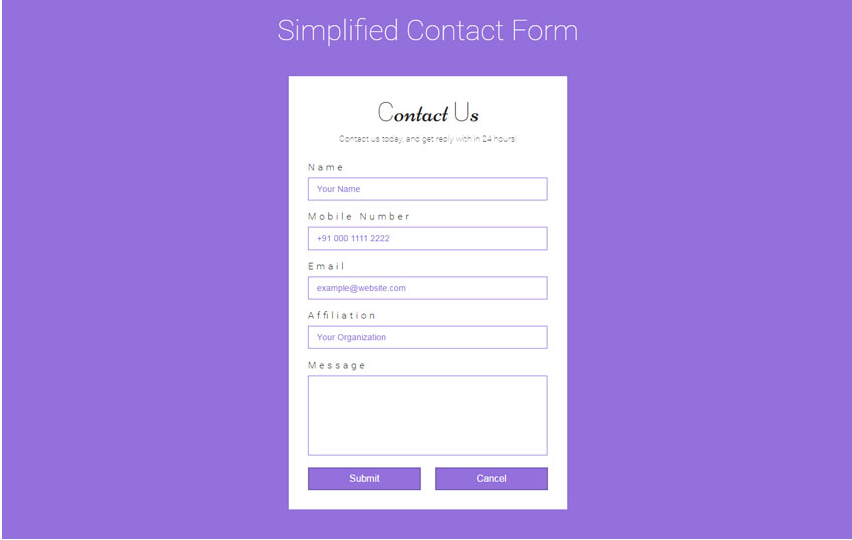 Simplified Contact Form Flat Responsive Widget Template
