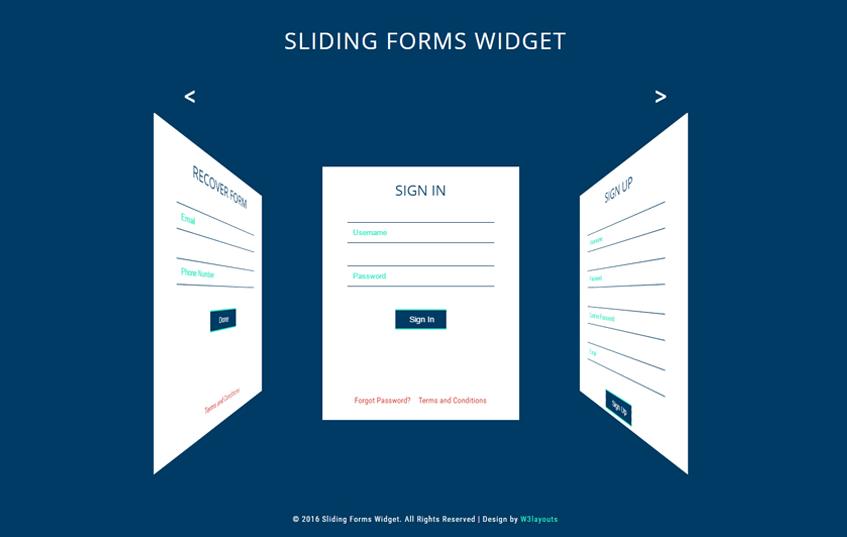 Sliding Forms Widget a Flat Responsive Widget Template