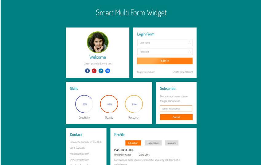 Smart Multi Form Widget Flat Responsive Widget Template