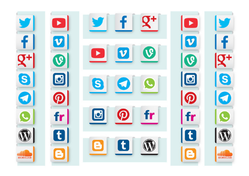 Social Media Ribbon Vectors