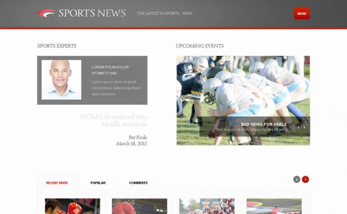 Sports News PSD Template