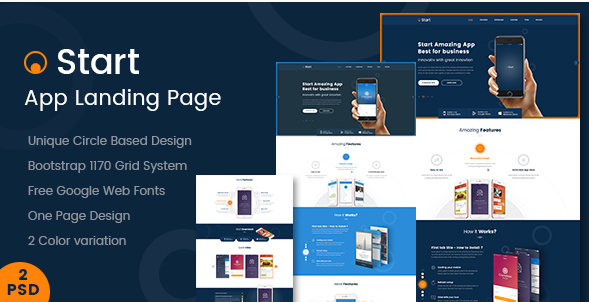 Start - App Landing Page PSD Template