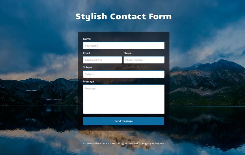 Stylish Contact Form Flat Responsive Widget Template