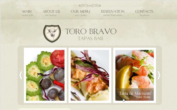 Tapas Restaurant PSD Template