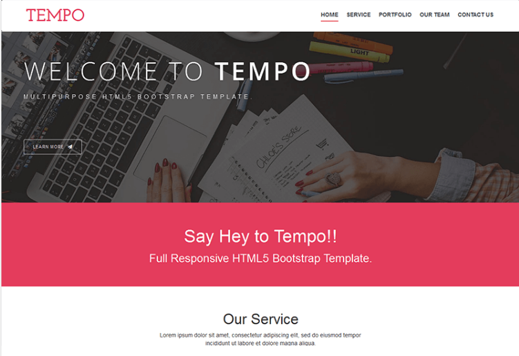Tempo – Free Onepage Bootstrap
