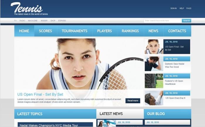 Tennis PSD Template