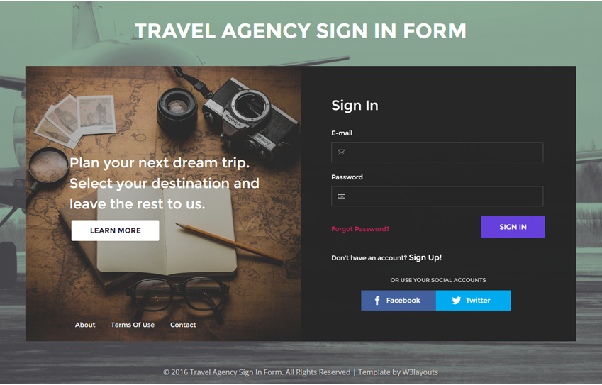 Travel Agency Sign In Form A Flat Responsive Widget Template