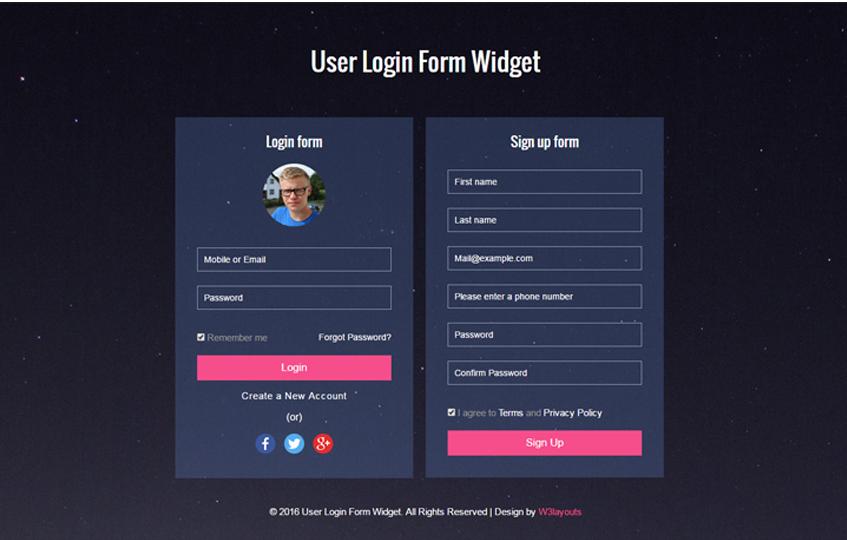 User Login Form Widget Responsive Widget Template