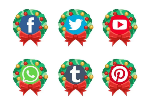 Vector Christmas Social Media Icons