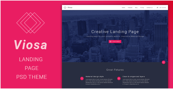 Viosa - Landing Page PSD Template