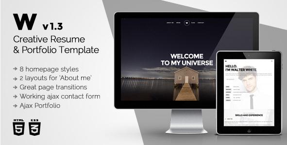 White - Resume Website Templates
