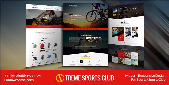 Xtreme Sports club - PSD Template