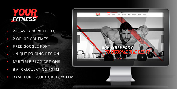 YourFitness — Sports PSD Design Templates
