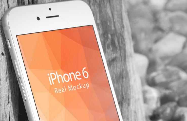 iPhone 6 Against Tree Bark Mockup