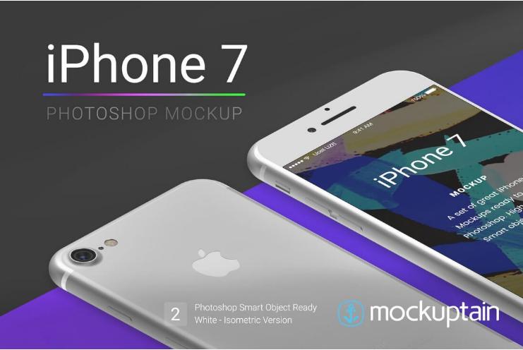 iPhone 7 Mockup Isometric White